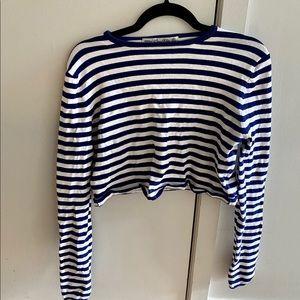 Women's cropped stripe sweater from Zara.